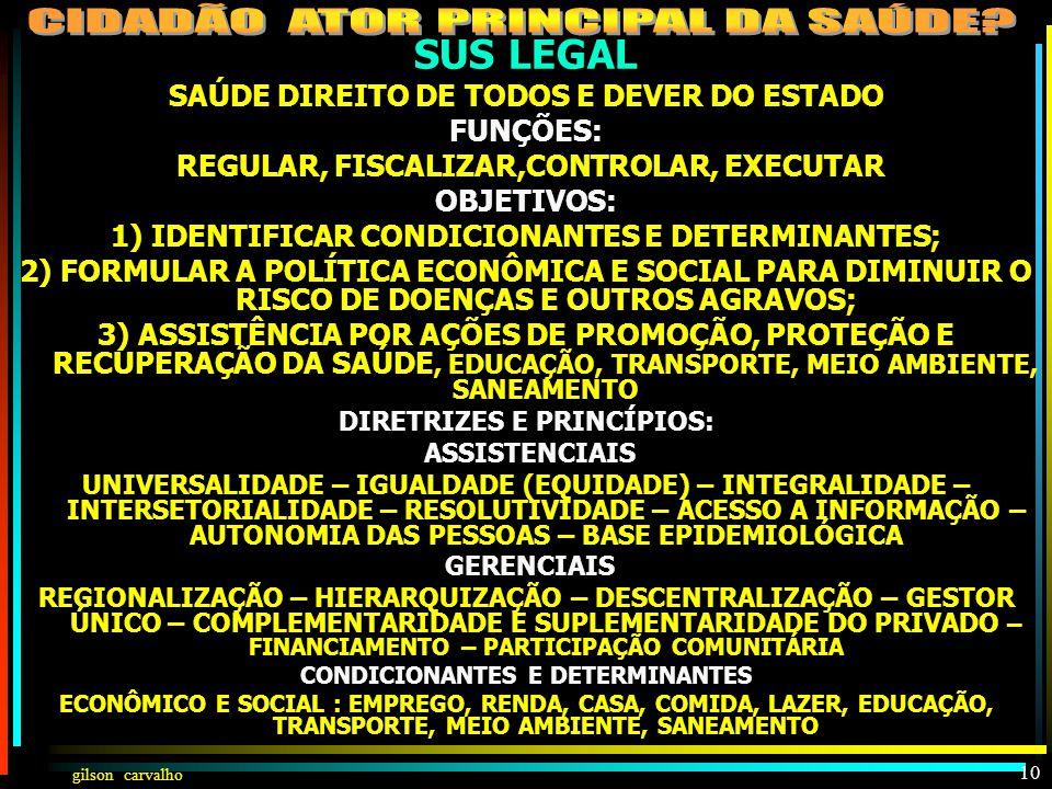 gilson carvalho 9 SUS LEGAL TUDO PARA TODOS IGUAL E INTEGRAL COM PARTICIPAÇÃO DA COMUNIDADE FAZENDO AÇÕES DE PROMOÇÃO, PROTEÇÃO E RECUPERAÇÃO