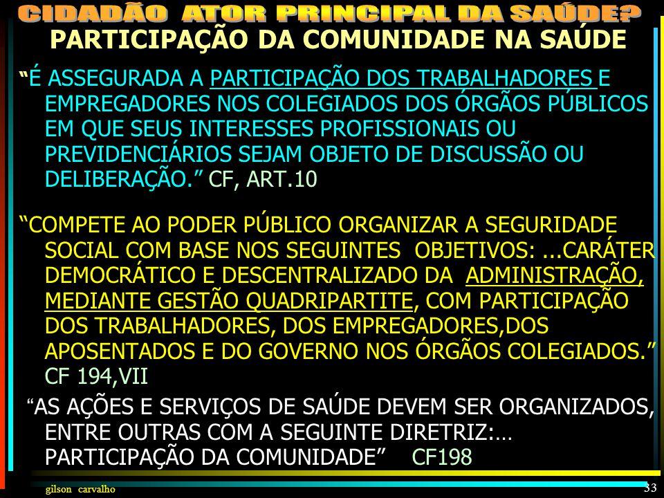 gilson carvalho32 HISTÓRIA DA PARTICIPAÇÃO NA SAÚDE 1988 - CF– ART.198 DIRETRIZES: DESCENTRALIZAÇÃO – INTEGRALIDADE – PARTICIPAÇÃO DA COMUNIDADE NA SA