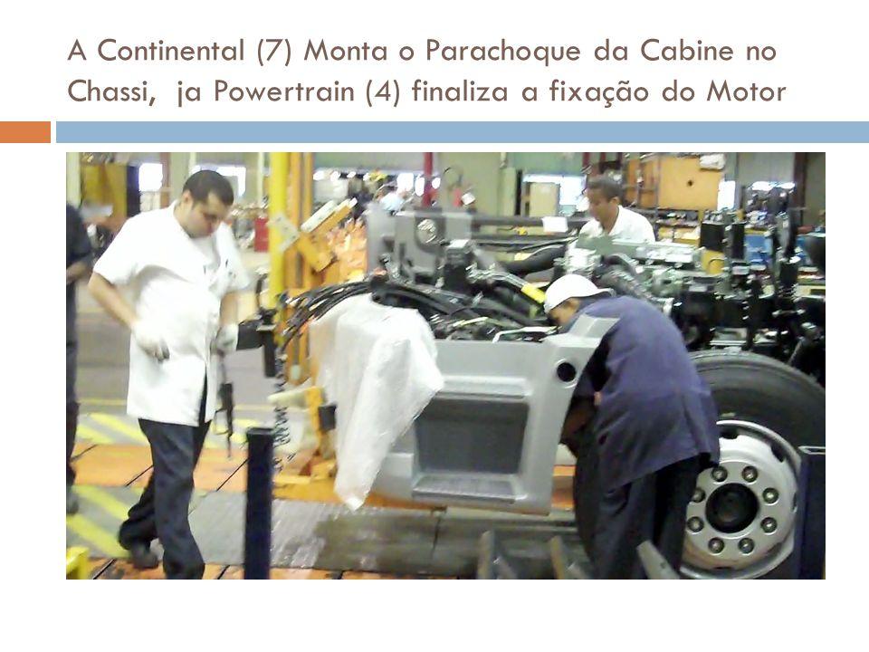 A Continental (7) Monta o Parachoque da Cabine no Chassi, ja Powertrain (4) finaliza a fixação do Motor
