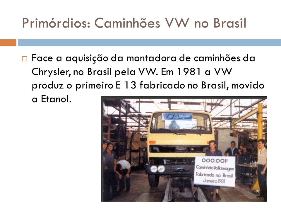 Primórdios: Caminhões VW no Brasil  Face a aquisição da montadora de caminhões da Chrysler, no Brasil pela VW. Em 1981 a VW produz o primeiro E 13 fa