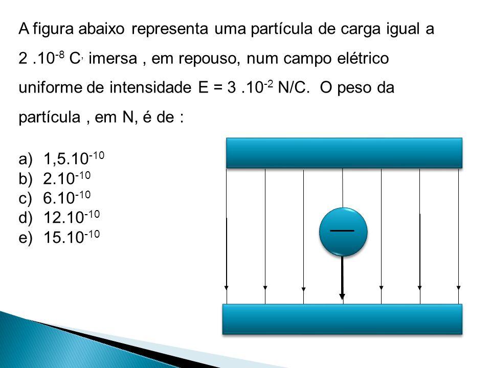 A figura abaixo representa uma partícula de carga igual a 2.10 -8 C, imersa, em repouso, num campo elétrico uniforme de intensidade E = 3.10 -2 N/C. O