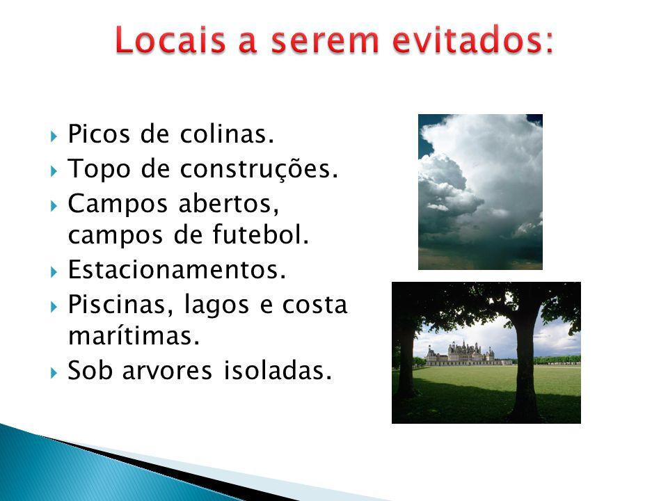  Picos de colinas.  Topo de construções.  Campos abertos, campos de futebol.  Estacionamentos.  Piscinas, lagos e costa marítimas.  Sob arvores