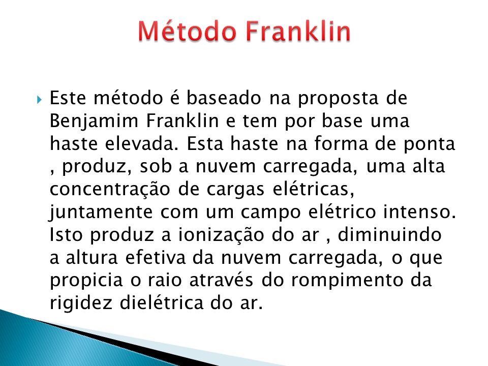  Este método é baseado na proposta de Benjamim Franklin e tem por base uma haste elevada. Esta haste na forma de ponta, produz, sob a nuvem carregada