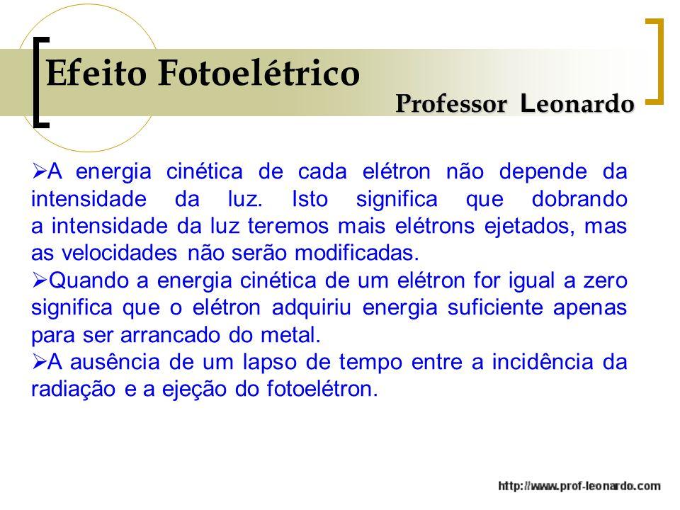 Professor L eonardo Efeito Fotoelétrico  A energia cinética de cada elétron não depende da intensidade da luz. Isto significa que dobrando a intensid