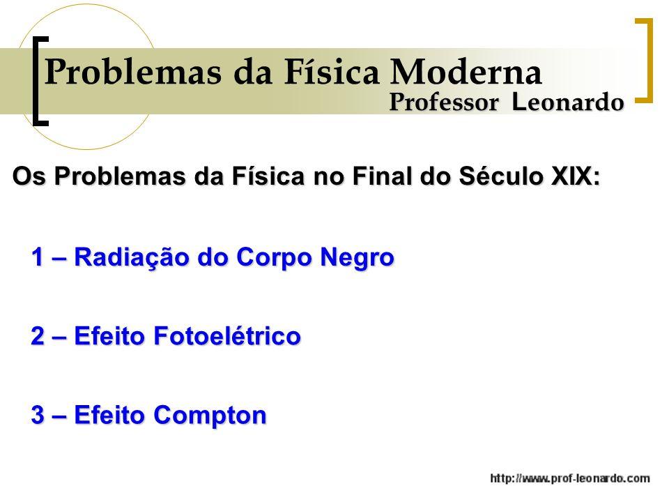 Problemas da Física Moderna Professor L eonardo Os Problemas da Física no Final do Século XIX: 1 – Radiação do Corpo Negro 2 – Efeito Fotoelétrico 3 –
