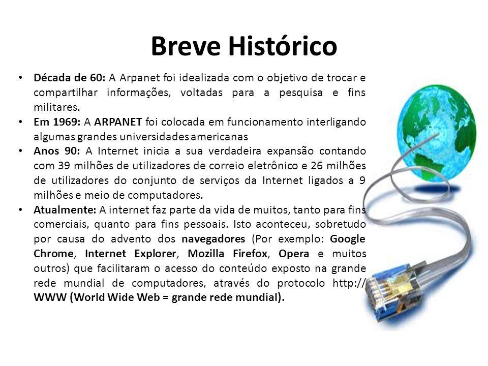 Breve Histórico • Década de 60: A Arpanet foi idealizada com o objetivo de trocar e compartilhar informações, voltadas para a pesquisa e fins militare