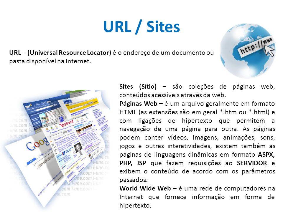 URL / Sites URL – (Universal Resource Locator) é o endereço de um documento ou pasta disponível na Internet. Sites (Sítio) – são coleções de páginas w