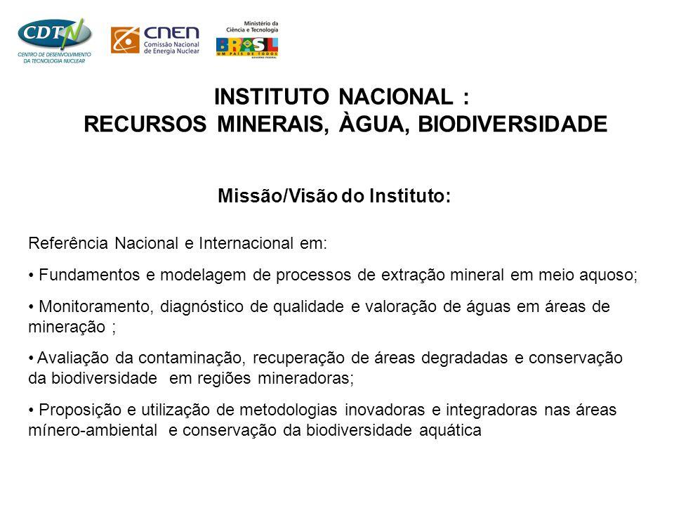 Missão/Visão do Instituto: Referência Nacional e Internacional em: • Fundamentos e modelagem de processos de extração mineral em meio aquoso; • Monito