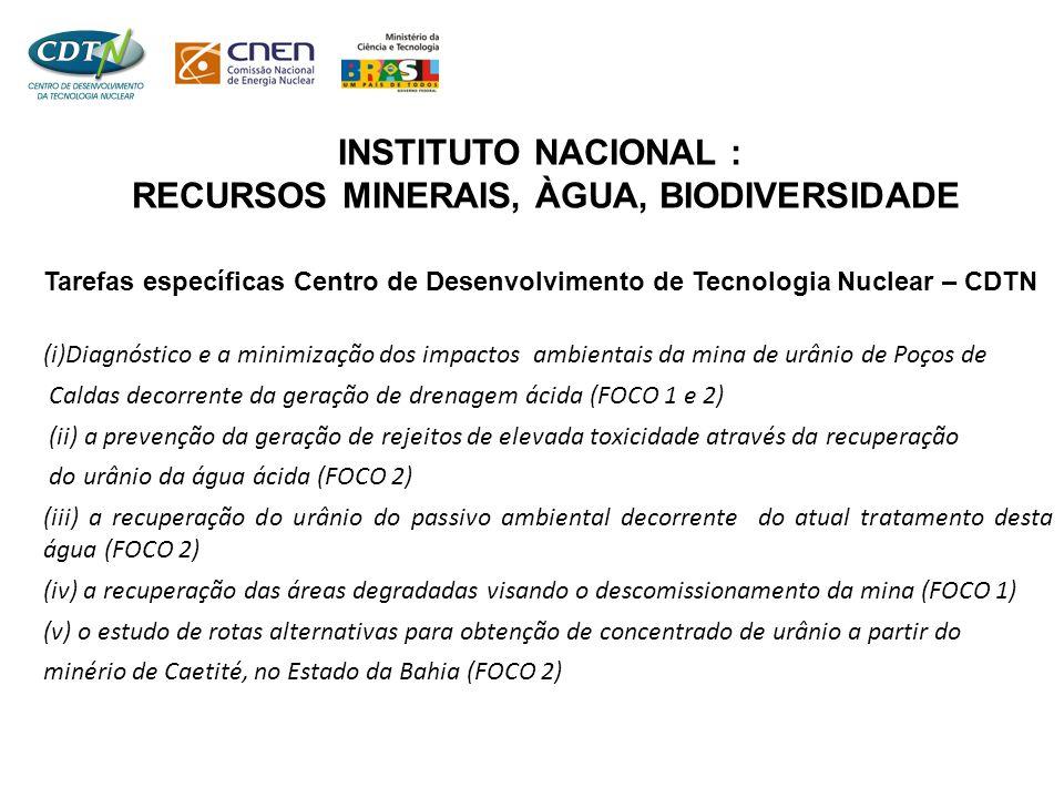 INSTITUTO NACIONAL : RECURSOS MINERAIS, ÀGUA, BIODIVERSIDADE Tarefas específicas Centro de Desenvolvimento de Tecnologia Nuclear – CDTN (i)Diagnóstico