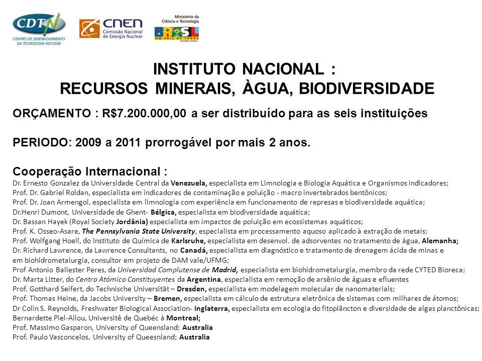 INSTITUTO NACIONAL : RECURSOS MINERAIS, ÀGUA, BIODIVERSIDADE ORÇAMENTO : R$7.200.000,00 a ser distribuído para as seis instituições PERIODO: 2009 a 20