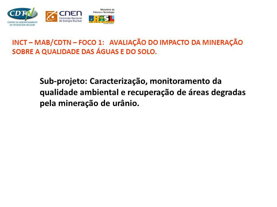 INCT – MAB/CDTN – FOCO 1: AVALIAÇÃO DO IMPACTO DA MINERAÇÃO SOBRE A QUALIDADE DAS ÁGUAS E DO SOLO. Sub-projeto: Caracterização, monitoramento da quali