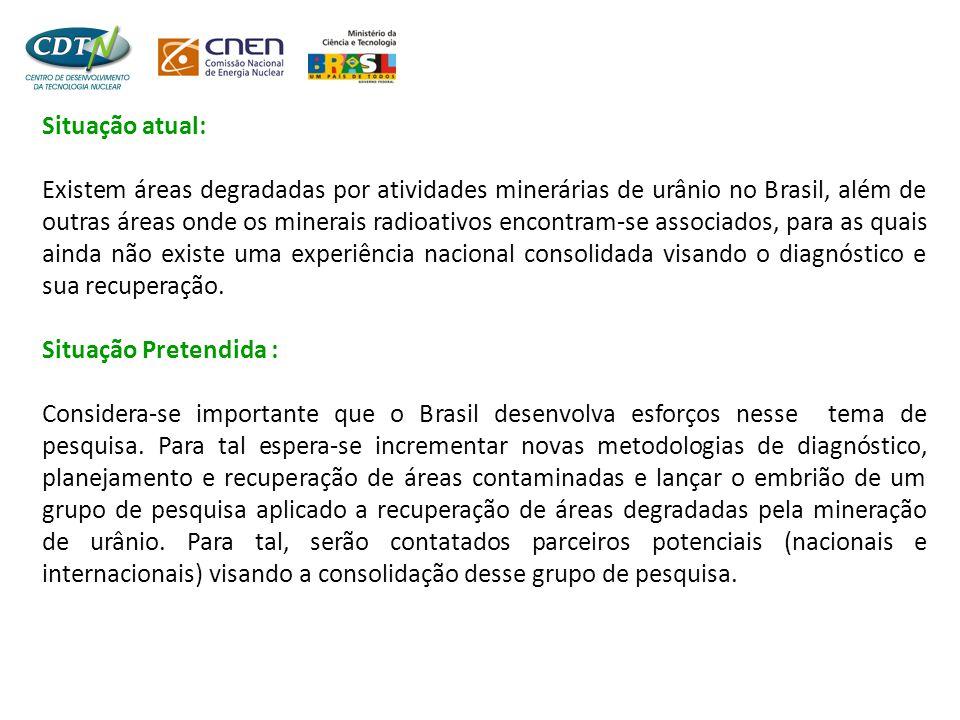 Situação atual: Existem áreas degradadas por atividades minerárias de urânio no Brasil, além de outras áreas onde os minerais radioativos encontram-se