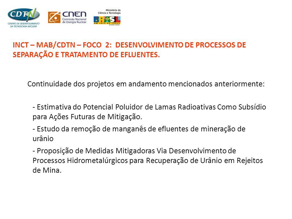 INCT – MAB/CDTN – FOCO 2: DESENVOLVIMENTO DE PROCESSOS DE SEPARAÇÃO E TRATAMENTO DE EFLUENTES. Continuidade dos projetos em andamento mencionados ante