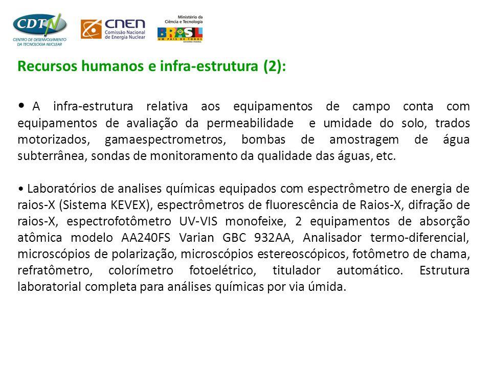 Recursos humanos e infra-estrutura (2): • A infra-estrutura relativa aos equipamentos de campo conta com equipamentos de avaliação da permeabilidade e