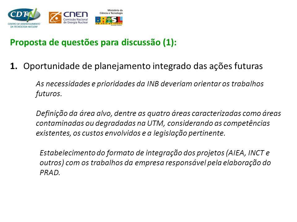 Proposta de questões para discussão (1): 1. Oportunidade de planejamento integrado das ações futuras As necessidades e prioridades da INB deveriam ori