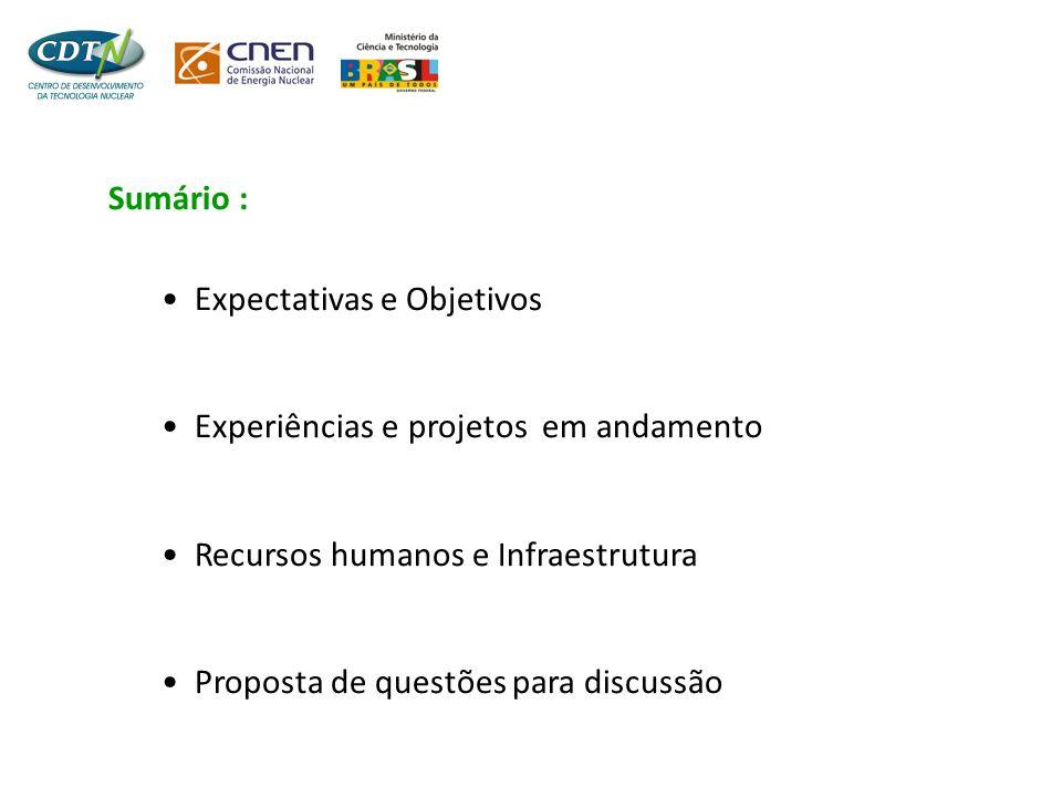 Sumário : •Expectativas e Objetivos •Experiências e projetos em andamento •Recursos humanos e Infraestrutura •Proposta de questões para discussão
