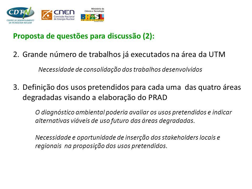 Proposta de questões para discussão (2): 2. Grande número de trabalhos já executados na área da UTM Necessidade de consolidação dos trabalhos desenvol