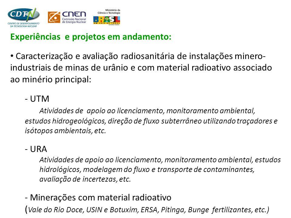 Experiências e projetos em andamento: • Caracterização e avaliação radiosanitária de instalações minero- industriais de minas de urânio e com material