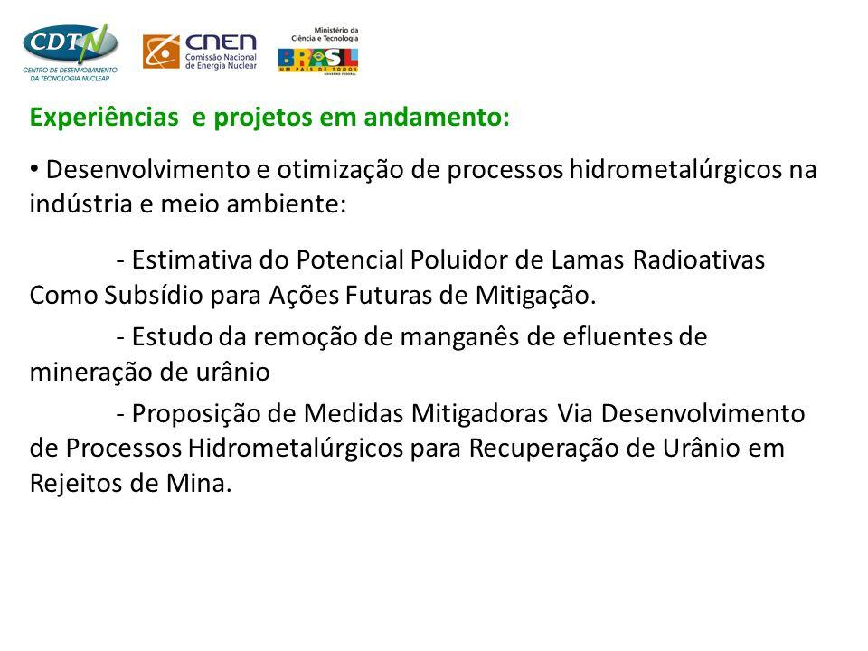 Experiências e projetos em andamento: • Desenvolvimento e otimização de processos hidrometalúrgicos na indústria e meio ambiente: - Análise e desenvolvimento de processos mínero- metalúrgicos para redução do impacto ambiental no entorno da Represa de Três Marias.