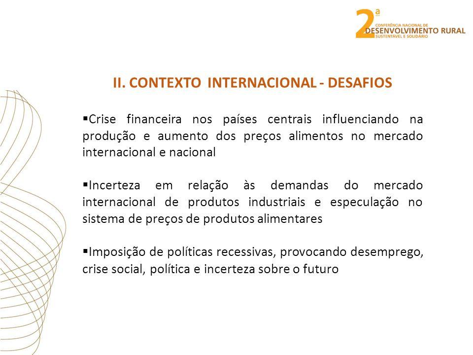 II. CONTEXTO INTERNACIONAL - DESAFIOS  Crise financeira nos países centrais influenciando na produção e aumento dos preços alimentos no mercado inter
