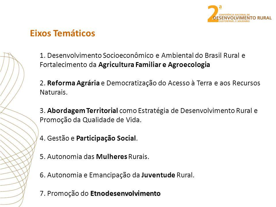 Eixos Temáticos 1. Desenvolvimento Socioeconômico e Ambiental do Brasil Rural e Fortalecimento da Agricultura Familiar e Agroecologia 2. Reforma Agrár