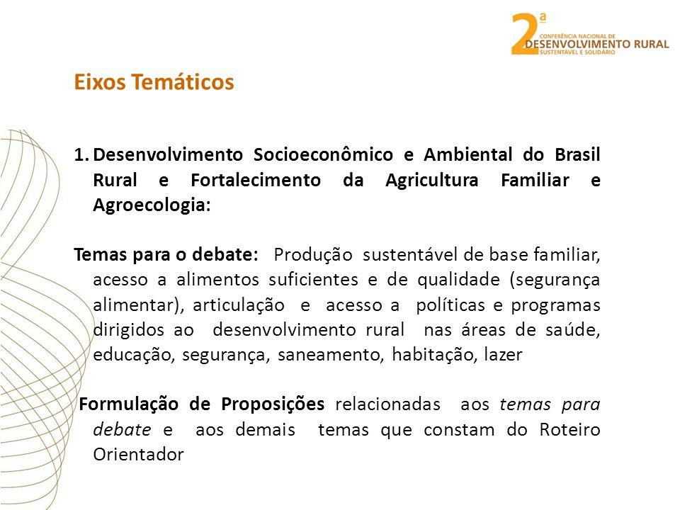 Eixos Temáticos 1.Desenvolvimento Socioeconômico e Ambiental do Brasil Rural e Fortalecimento da Agricultura Familiar e Agroecologia: Temas para o deb