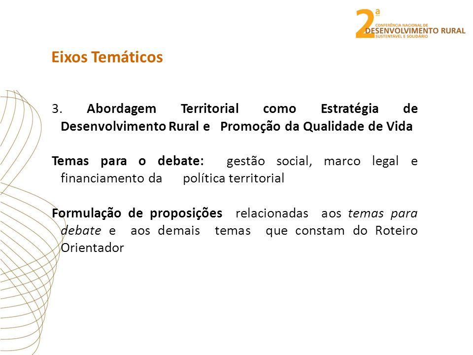 Eixos Temáticos 3. Abordagem Territorial como Estratégia de Desenvolvimento Rural e Promoção da Qualidade de Vida Temas para o debate: gestão social,