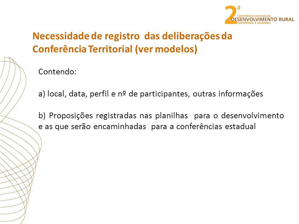 Necessidade de registro das deliberações da Conferência Territorial (ver modelos) Contendo: a) local, data, perfil e nº de participantes, outras infor