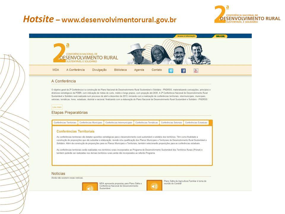 Hotsite – www.desenvolvimentorural.gov.br