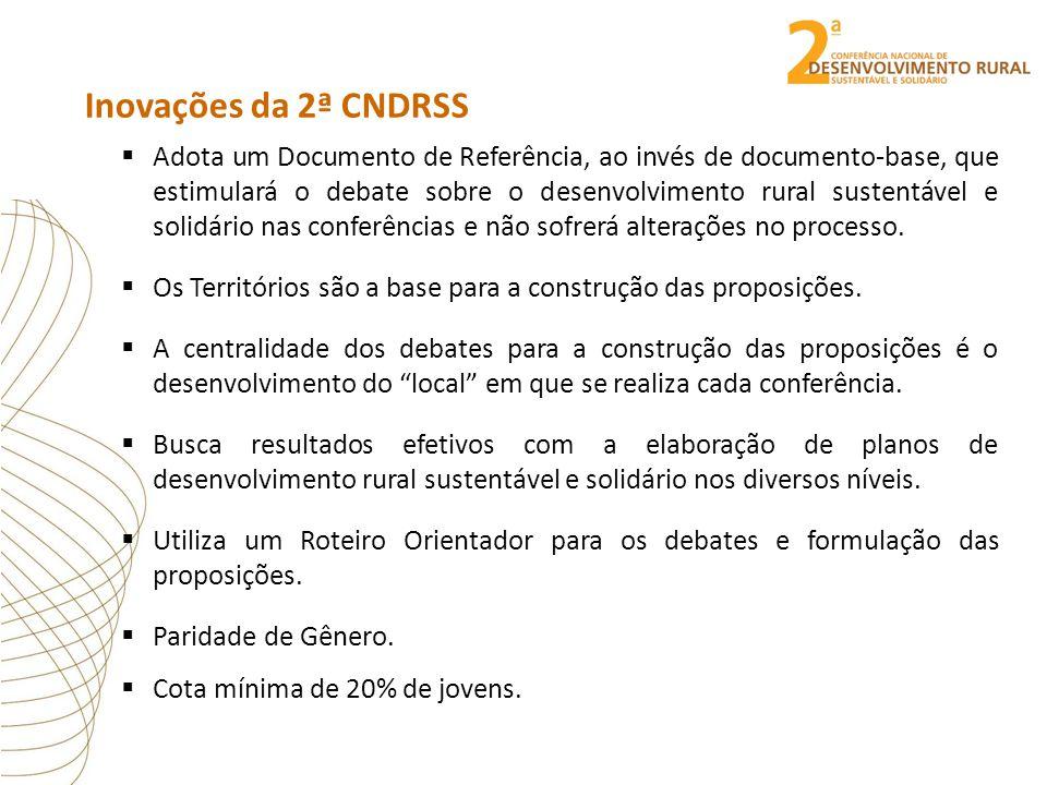 Inovações da 2ª CNDRSS  Adota um Documento de Referência, ao invés de documento-base, que estimulará o debate sobre o desenvolvimento rural sustentáv