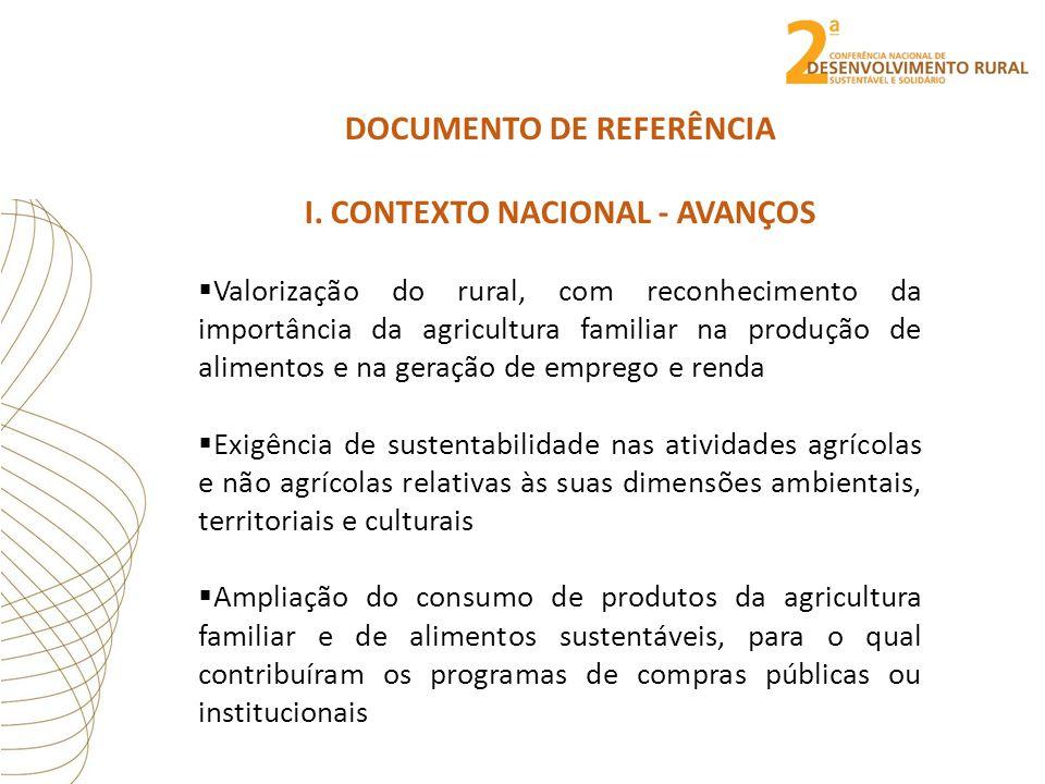 DOCUMENTO DE REFERÊNCIA I. CONTEXTO NACIONAL - AVANÇOS  Valorização do rural, com reconhecimento da importância da agricultura familiar na produção d