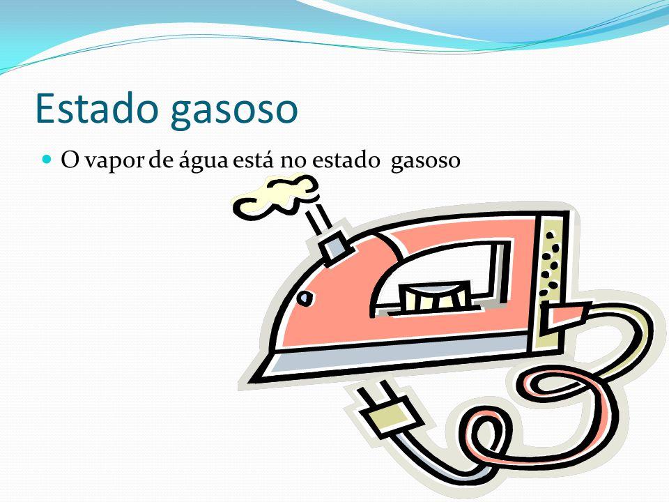 Estado gasoso  O vapor de água está no estado gasoso
