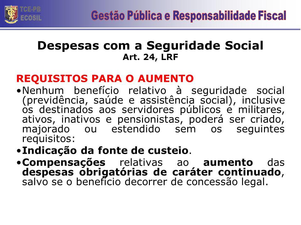 Despesas com a Seguridade Social Art. 24, LRF REQUISITOS PARA O AUMENTO •Nenhum benefício relativo à seguridade social (previdência, saúde e assistênc
