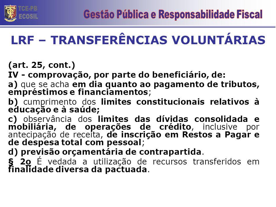 (art. 25, cont.) IV - comprovação, por parte do beneficiário, de: a) que se acha em dia quanto ao pagamento de tributos, empréstimos e financiamentos;