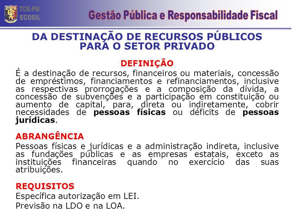 DA DESTINAÇÃO DE RECURSOS PÚBLICOS PARA O SETOR PRIVADO DEFINIÇÃO É a destinação de recursos, financeiros ou materiais, concessão de empréstimos, fina