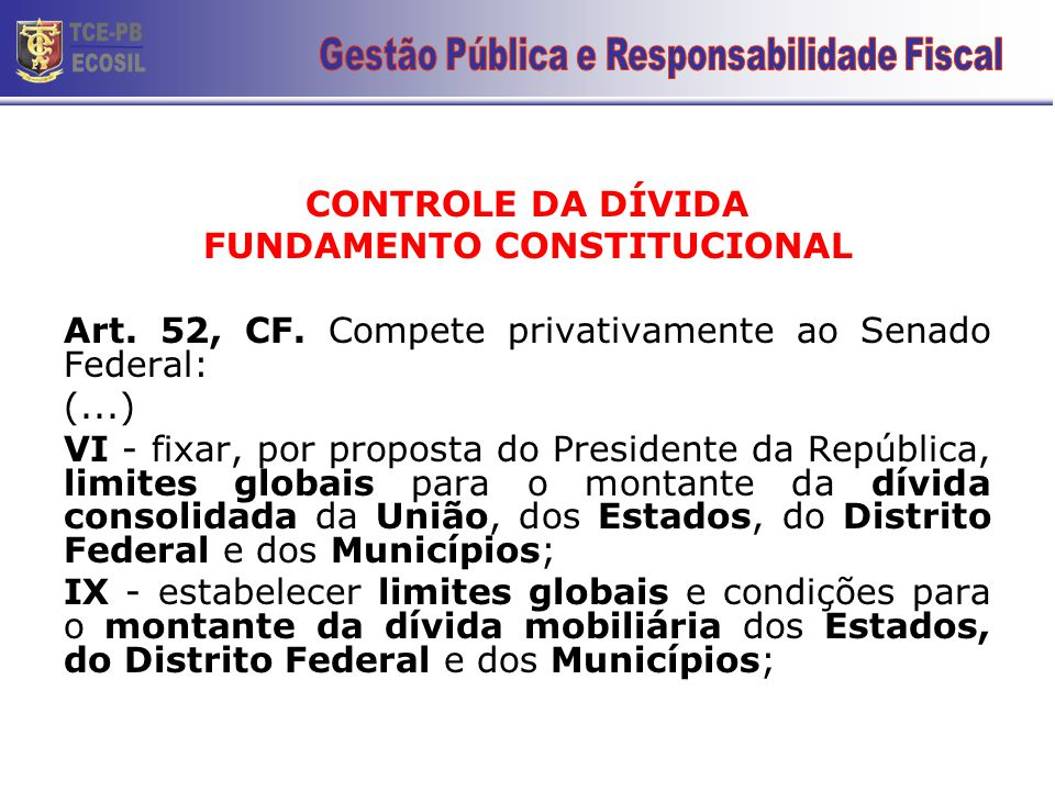 CONTROLE DA DÍVIDA FUNDAMENTO CONSTITUCIONAL Art. 52, CF. Compete privativamente ao Senado Federal: (...) VI - fixar, por proposta do Presidente da Re