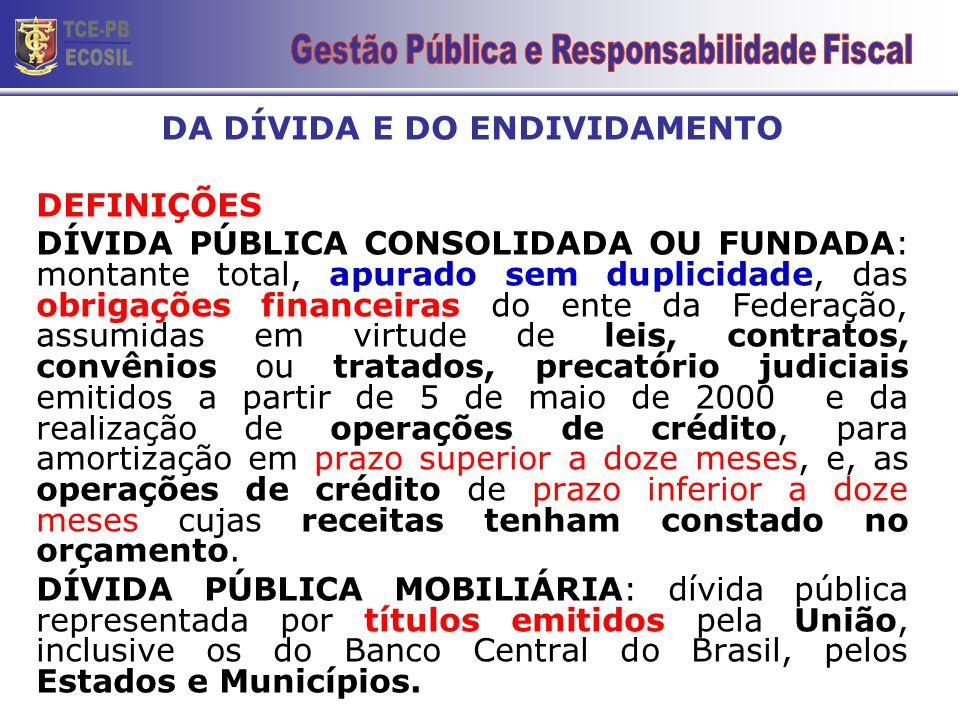 DA DÍVIDA E DO ENDIVIDAMENTO DEFINIÇÕES DÍVIDA PÚBLICA CONSOLIDADA OU FUNDADA: montante total, apurado sem duplicidade, das obrigações financeiras do