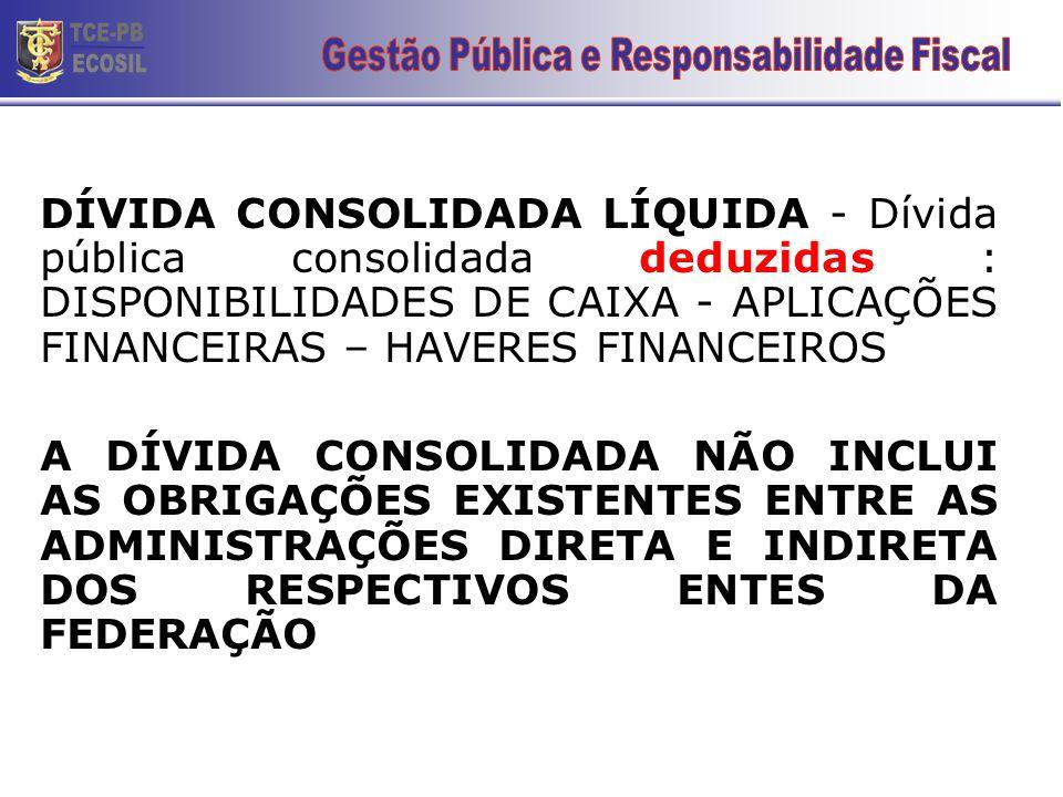 DÍVIDA CONSOLIDADA LÍQUIDA - Dívida pública consolidada deduzidas : DISPONIBILIDADES DE CAIXA - APLICAÇÕES FINANCEIRAS – HAVERES FINANCEIROS A DÍVIDA CONSOLIDADA NÃO INCLUI AS OBRIGAÇÕES EXISTENTES ENTRE AS ADMINISTRAÇÕES DIRETA E INDIRETA DOS RESPECTIVOS ENTES DA FEDERAÇÃO