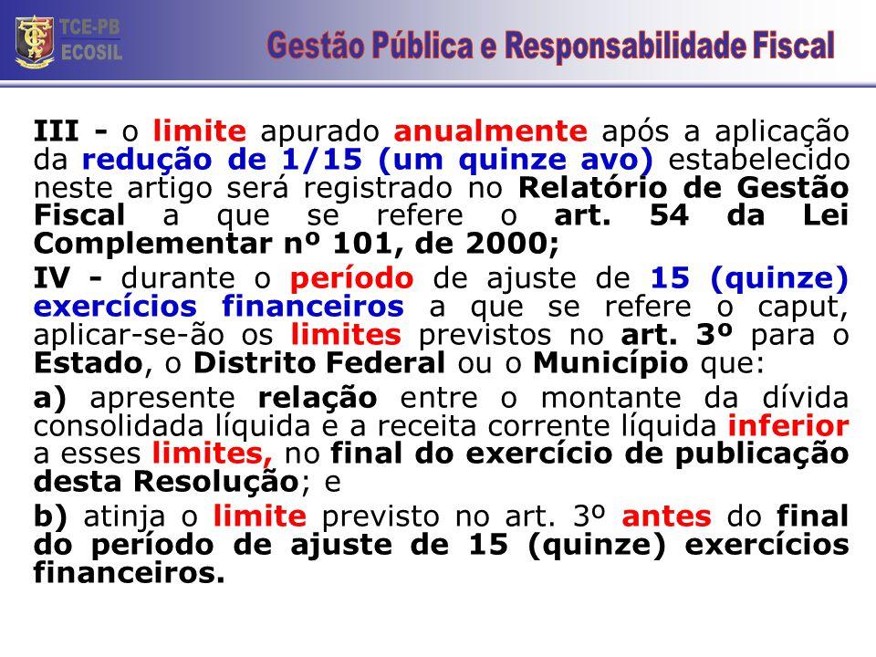 III - o limite apurado anualmente após a aplicação da redução de 1/15 (um quinze avo) estabelecido neste artigo será registrado no Relatório de Gestão Fiscal a que se refere o art.
