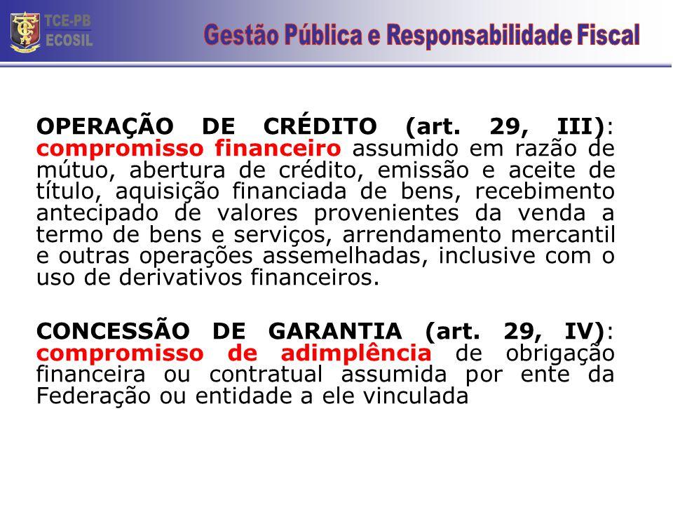 OPERAÇÃO DE CRÉDITO (art. 29, III): compromisso financeiro assumido em razão de mútuo, abertura de crédito, emissão e aceite de título, aquisição fina