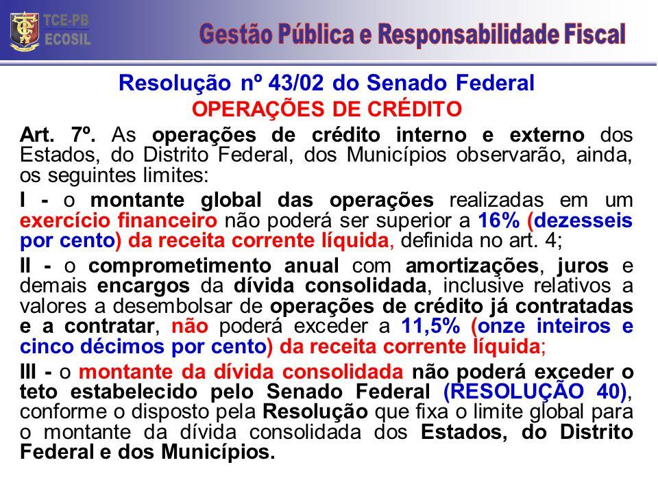 Resolução nº 43/02 do Senado Federal OPERAÇÕES DE CRÉDITO Art. 7º. As operações de crédito interno e externo dos Estados, do Distrito Federal, dos Mun