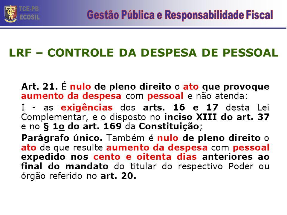 LRF – CONTROLE DA DESPESA DE PESSOAL Art. 21. É nulo de pleno direito o ato que provoque aumento da despesa com pessoal e não atenda: I - as exigência