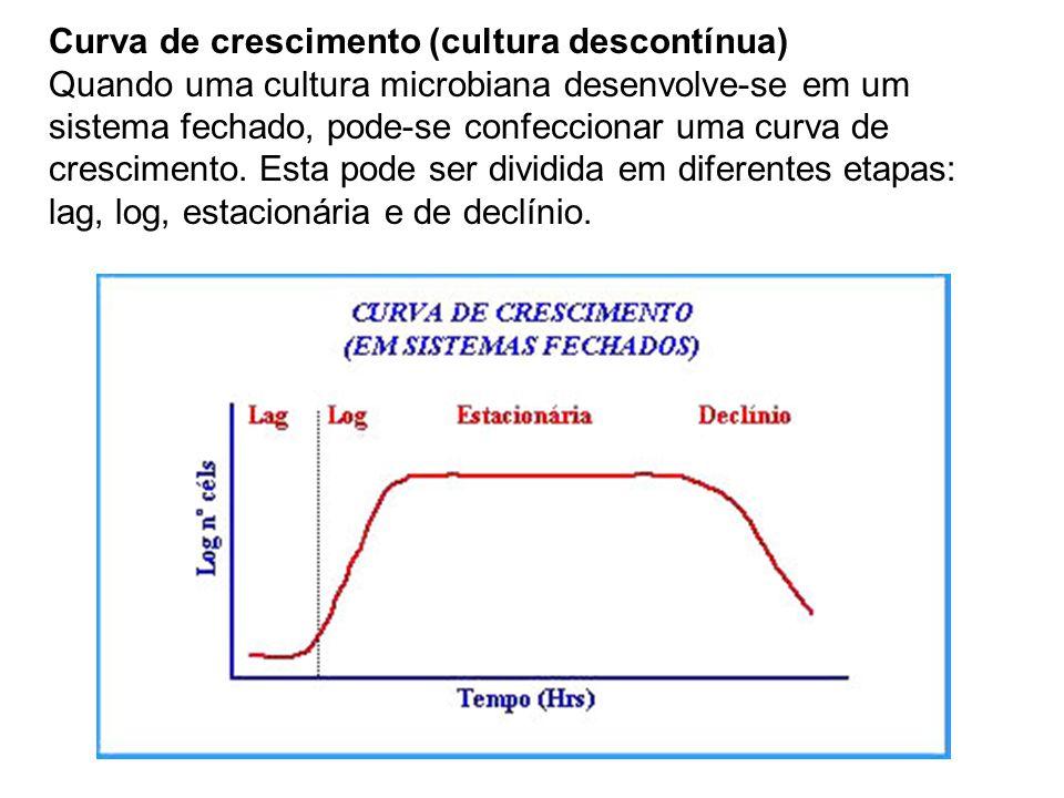 Curva de crescimento (cultura descontínua) Quando uma cultura microbiana desenvolve-se em um sistema fechado, pode-se confeccionar uma curva de cresci