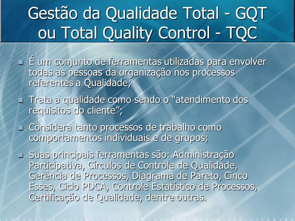 Gestão da Qualidade Total - GQT ou Total Quality Control - TQC  É um conjunto de ferramentas utilizadas para envolver todas as pessoas da organização nos processos referentes a Qualidade;  Trata a qualidade como sendo o atendimento dos requisitos do cliente ;  Considera tanto processos de trabalho como comportamentos individuais e de grupos;  Suas principais ferramentas são: Administração Participativa, Círculos de Controle de Qualidade, Gerência de Processos, Diagrama de Pareto, Cinco Esses, Ciclo PDCA, Controle Estatístico de Processos, Certificação de Qualidade, dentre outras.