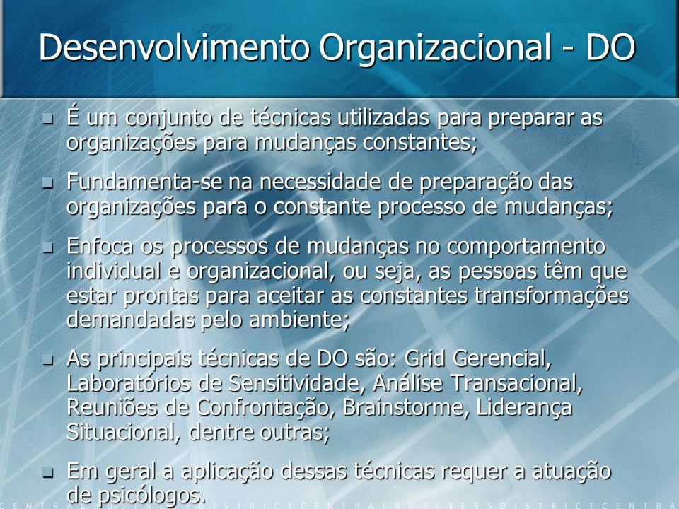 Desenvolvimento Organizacional - DO  É um conjunto de técnicas utilizadas para preparar as organizações para mudanças constantes;  Fundamenta-se na necessidade de preparação das organizações para o constante processo de mudanças;  Enfoca os processos de mudanças no comportamento individual e organizacional, ou seja, as pessoas têm que estar prontas para aceitar as constantes transformações demandadas pelo ambiente;  As principais técnicas de DO são: Grid Gerencial, Laboratórios de Sensitividade, Análise Transacional, Reuniões de Confrontação, Brainstorme, Liderança Situacional, dentre outras;  Em geral a aplicação dessas técnicas requer a atuação de psicólogos.