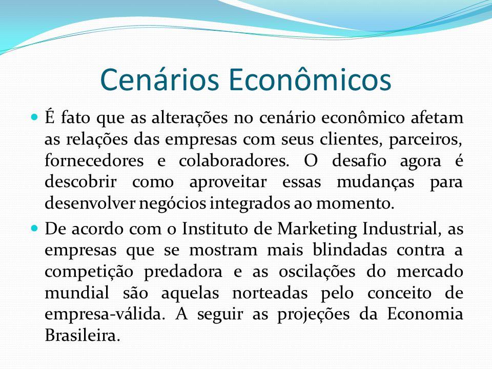 Cenários Econômicos  É fato que as alterações no cenário econômico afetam as relações das empresas com seus clientes, parceiros, fornecedores e colab