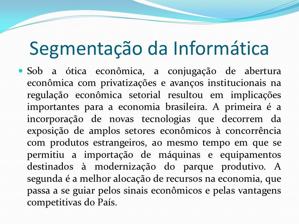 Segmentação da Informática  Sob a ótica econômica, a conjugação de abertura econômica com privatizações e avanços institucionais na regulação econômi