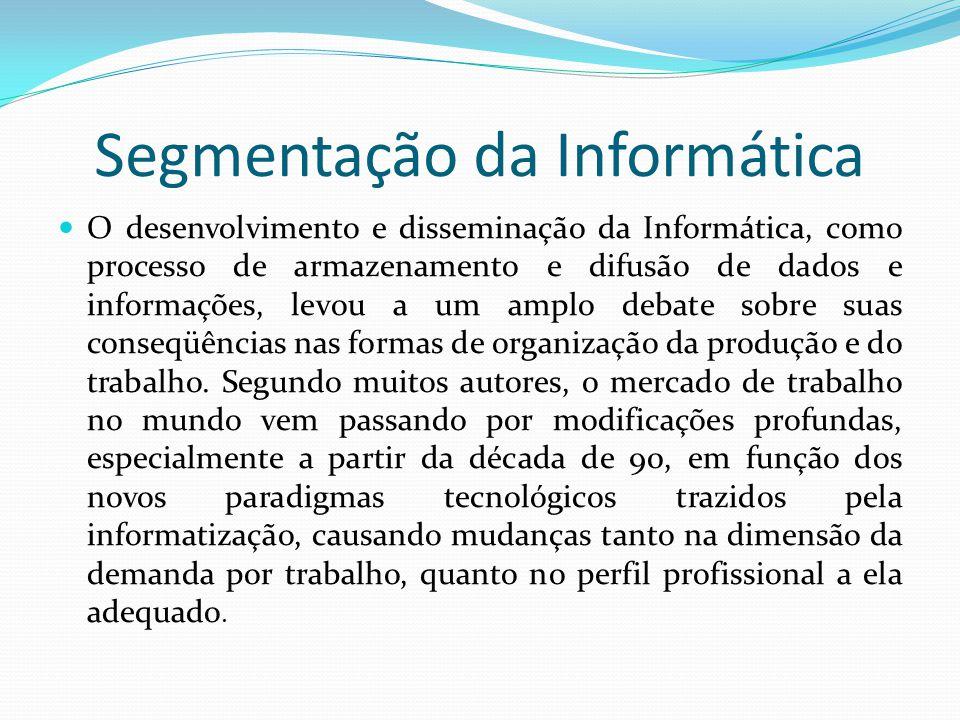 Segmentação da Informática  O desenvolvimento e disseminação da Informática, como processo de armazenamento e difusão de dados e informações, levou a