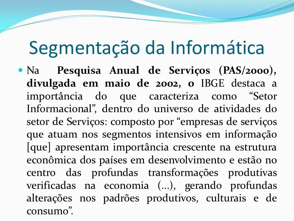 Segmentação da Informática  Na Pesquisa Anual de Serviços (PAS/2000), divulgada em maio de 2002, o IBGE destaca a importância do que caracteriza como