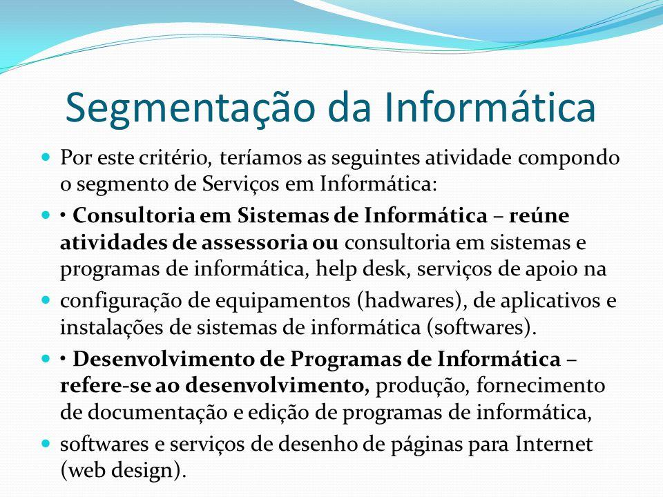 Segmentação da Informática  Por este critério, teríamos as seguintes atividade compondo o segmento de Serviços em Informática:  • Consultoria em Sis